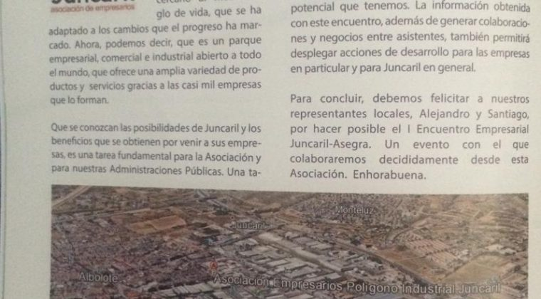 Editorial en la Revista del I Encuentro Empresarial Juncaril-Asegra.
