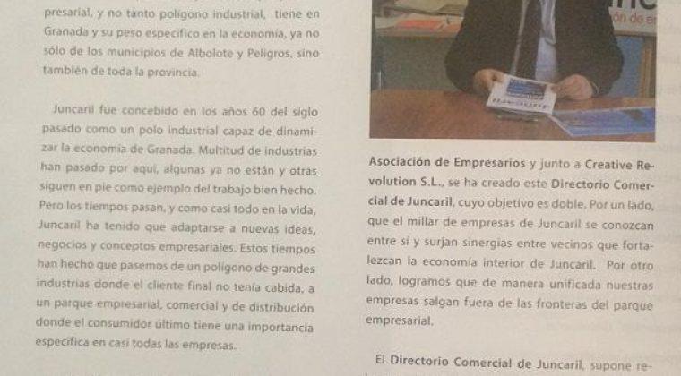 Editorial segundo Directorio Comercial de Juncaril.