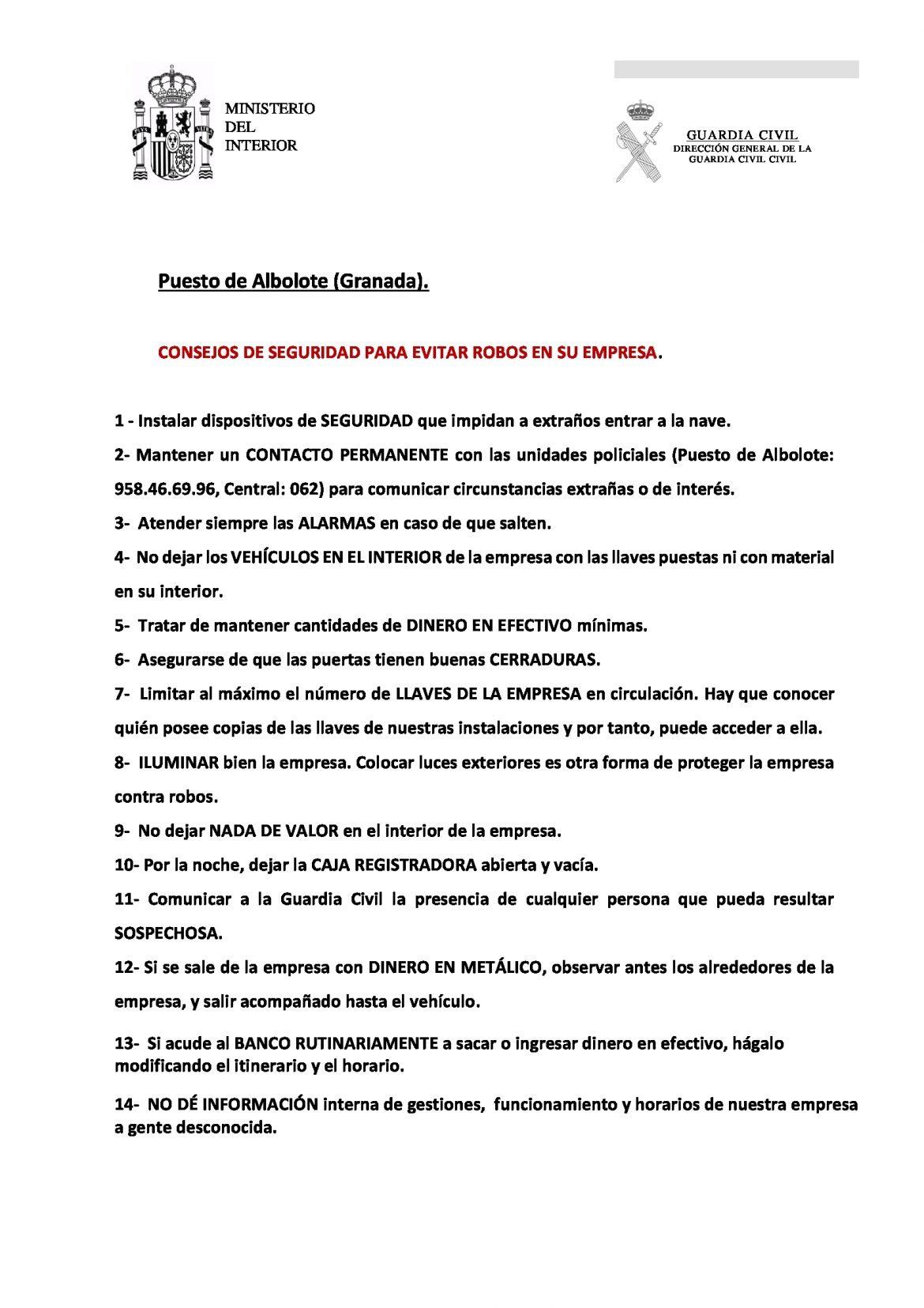 14 Consejos de Seguridad para las empresas de Juncaril.