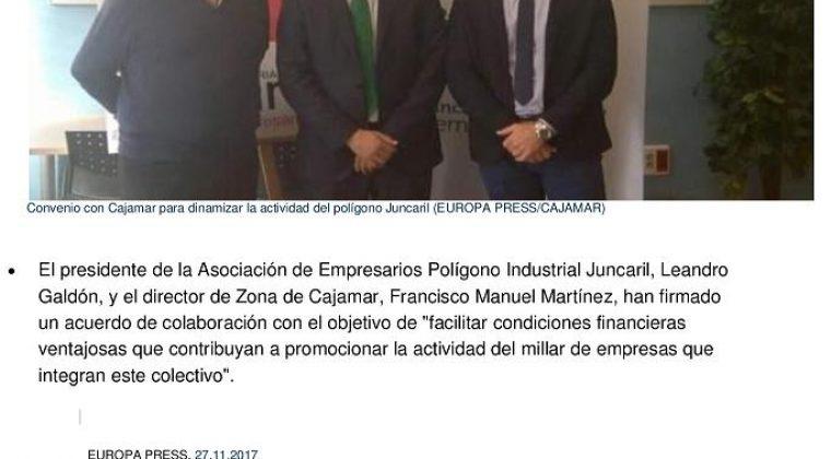 Convenio entre Asociación y Cajamar para impulsar Juncaril