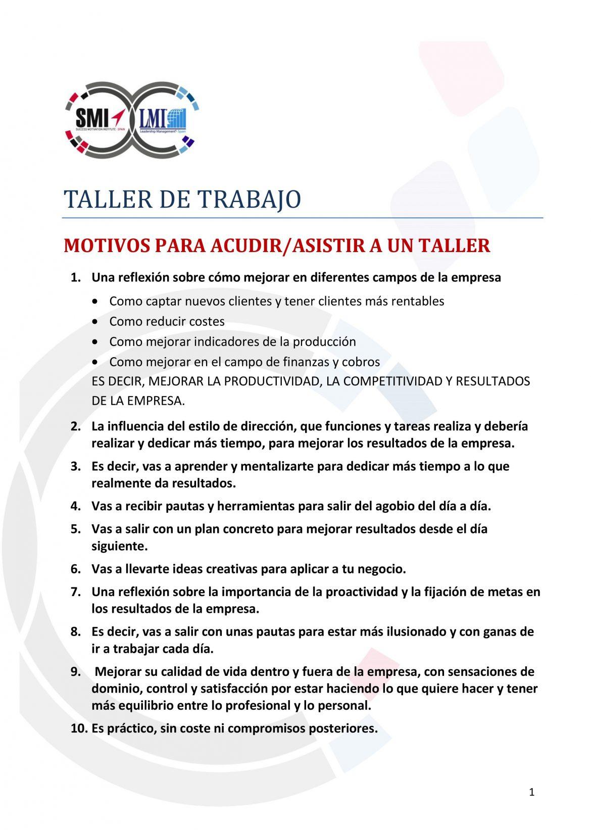 """Taller """"Productividad Personal y Mejora de Resultados"""""""