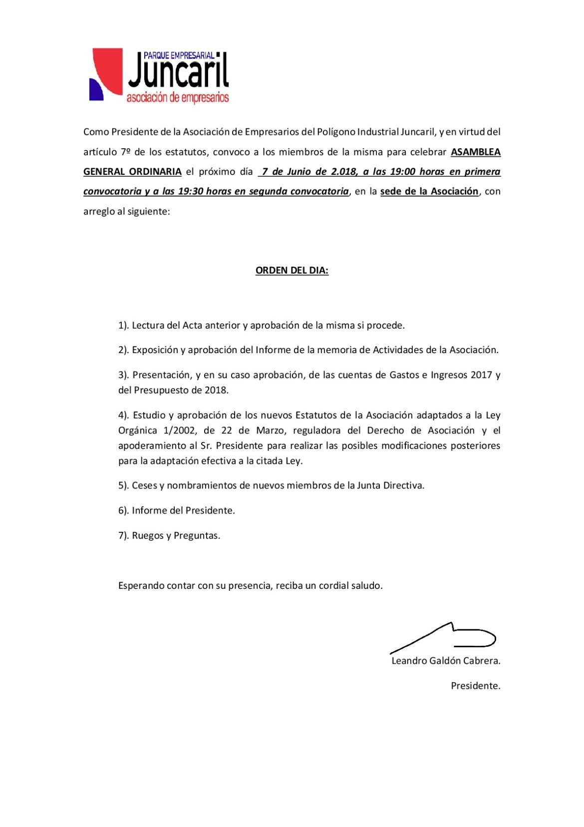 Asamblea General Ordinaria 2018.