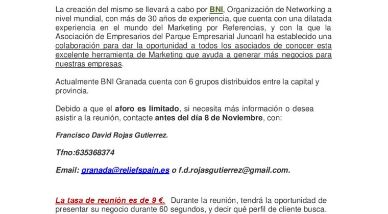 Reunión BNI para constituir grupo en Juncaril. Referencias y negocios.
