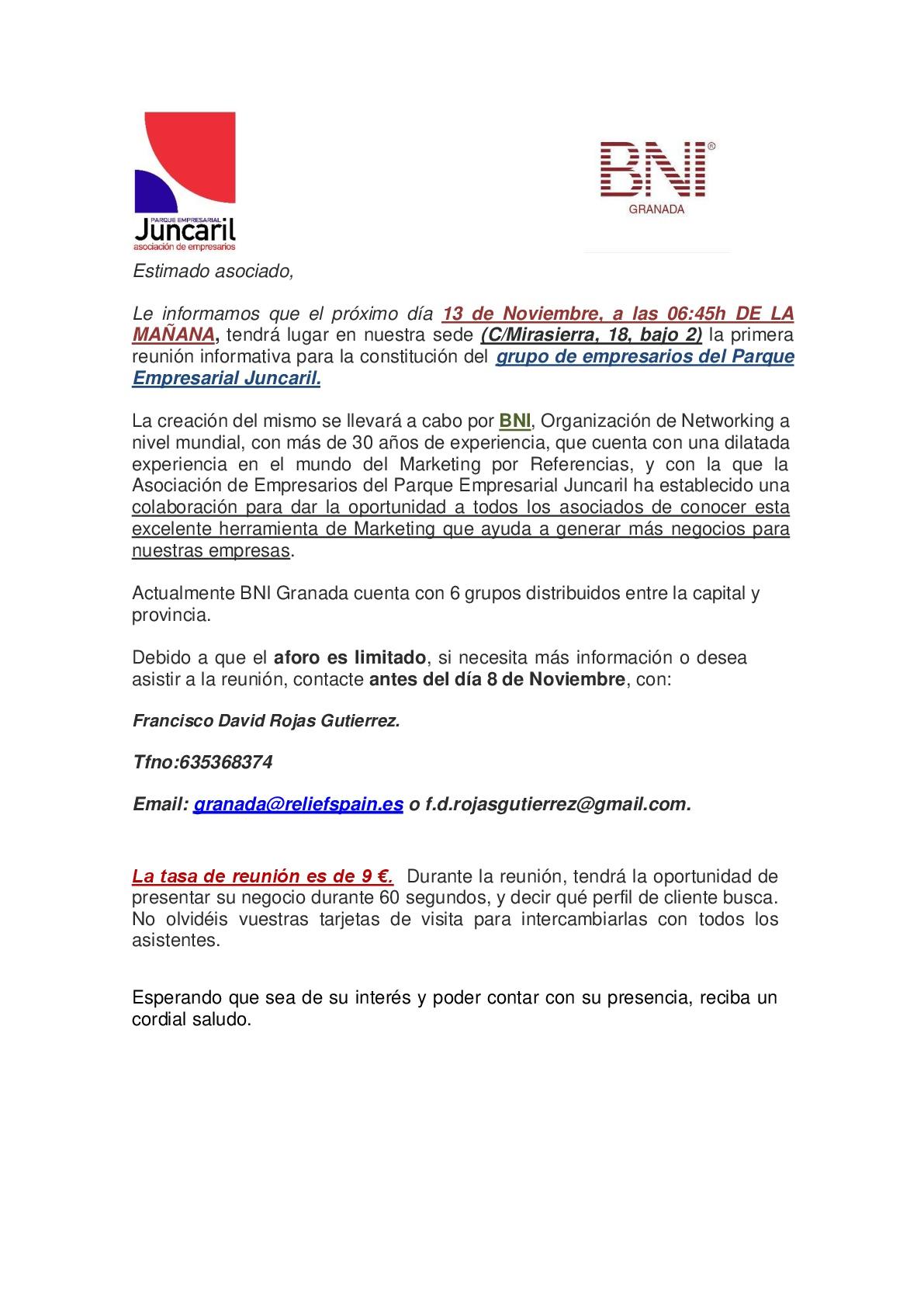 Reunión De Constitución De Grupo Bni En Juncaril Asociación